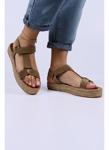 Female Project Vizon Hakiki Deri Cırtlı Sandalet Vizon